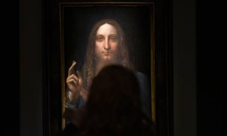 Leonardo da Vinci's 'Salvator Mundi' on display at a press preview at Christie's New York.