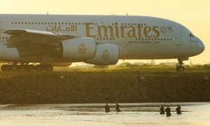An Emirates plane at Sydney airport.