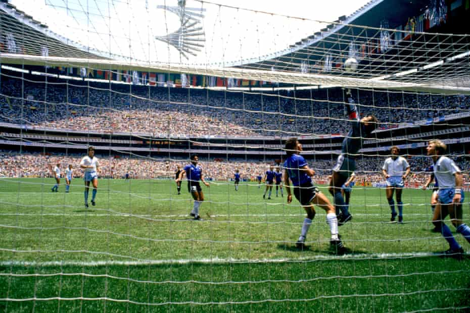 Peter Shilton tips the ball over the bar after a free-kick deflects off Glenn Hoddle's head.