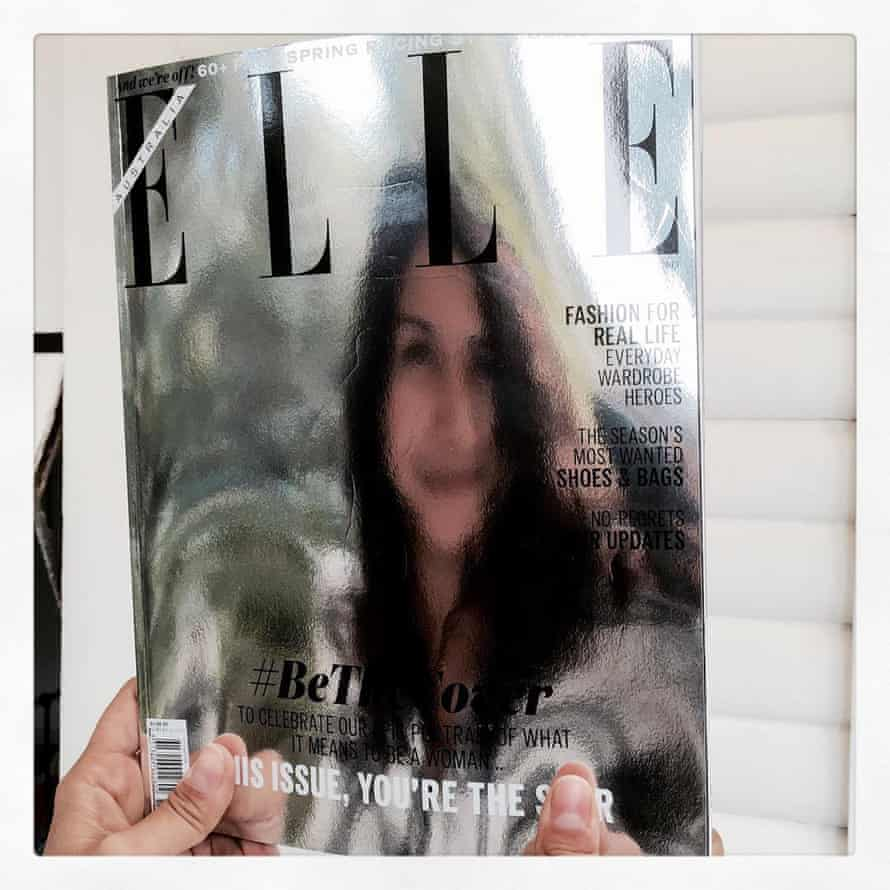 Justine Cullen with the cover of Elle magazine