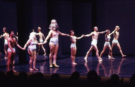 Clark's mother, Bessie (second from left), next to Leigh Bowery, and Clark himself (third from right) in Mmm…, an Artangel commission at King's Cross Depot in 1992
