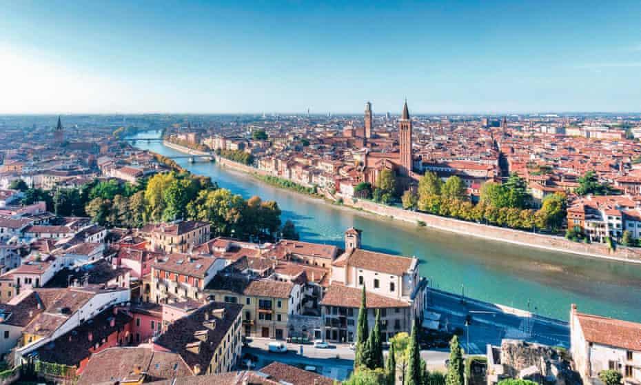 A view from Castel San Pietro of Verona and Sant'Anastasia church, Veneto, Italy.