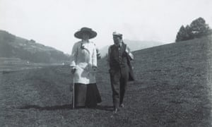 Gustav Mahler with his wife, Alma, in Toblach, 1909.