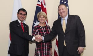 Mike Pompeo, right, with the Australian and Japanese foreign ministers, Julie Bishop and Taro Kono at the Asean meeting in Singapore.