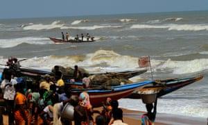 Fishermen at Konark in Odisha this week.