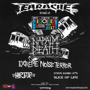 A flyer for Earache's metal takeover Glastonbury 2017.