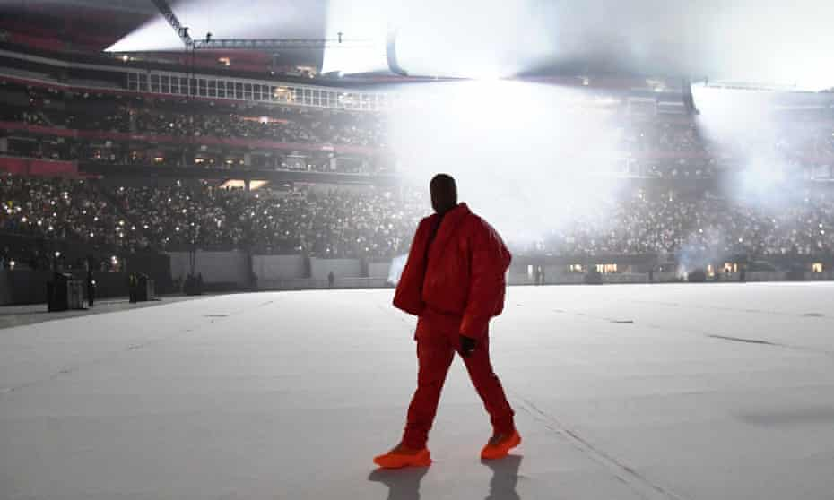 Kanye West appearing at an album playback event this month.