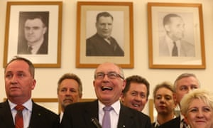 Nationals leader Warren Truss and his party members in the Nats party room of Parliament House, Canberra this afternoon, Tuesday 15th September 2015.