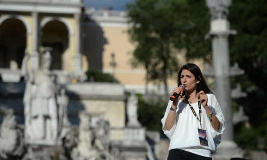 Virginia Raggi campaigns at Piazza del Popolo in Rome.