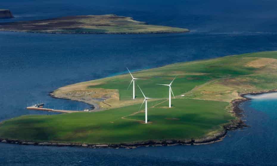 wind turbines on sanday in orkney