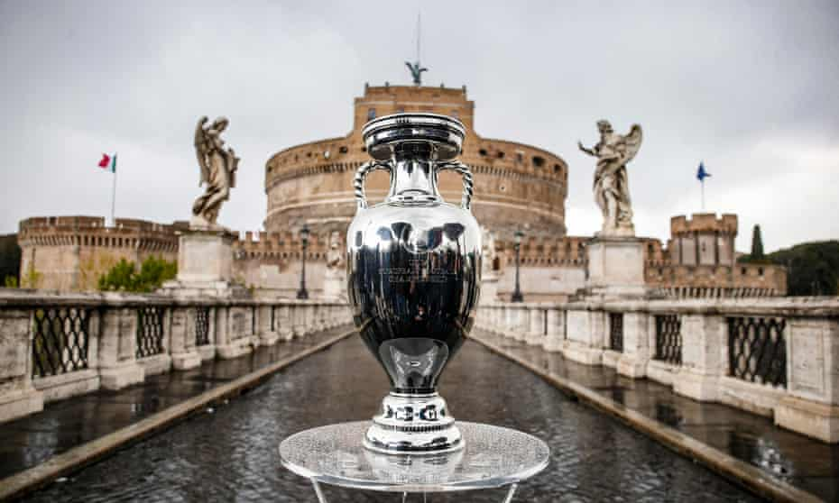 The European Championship trophy on the Sant'Angelo bridge in Rome, where Italy play Turkey on Friday night at the Olimpico