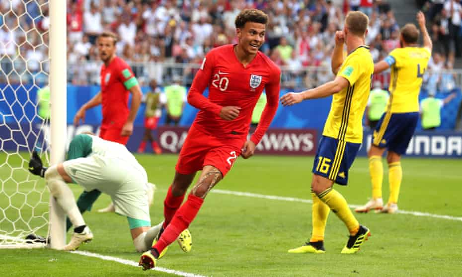 Dele Alli celebrates after scoring England's second goal in their World Cup quarter-final victory against Sweden in Samara.