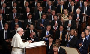 Pope Francis addresses a joint meeting of the US Congress in the House chamber of the Capitol.