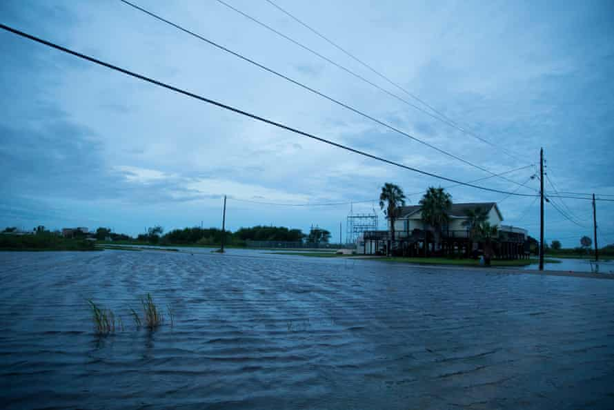 Flooding caused by Hurricane Laura on Thursday in Sabine Pass, Texas.