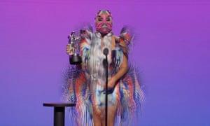 Lady Gaga accepting an award at the MTV VMAs
