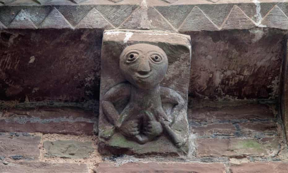 A 12th-century sheela na gig, Kilpeck church, Herefordshire