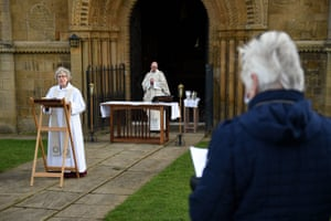 The Rev Nicola Sullivan delivers an outdoor Ash Wednesday service at Southwell Minster in Nottingham, England