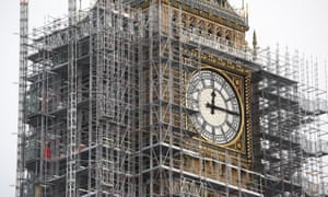 The Big Ben tower clad in scaffolding for maintenance works.
