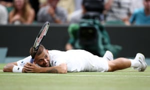 Dan Evans rues his shot which was just too long.