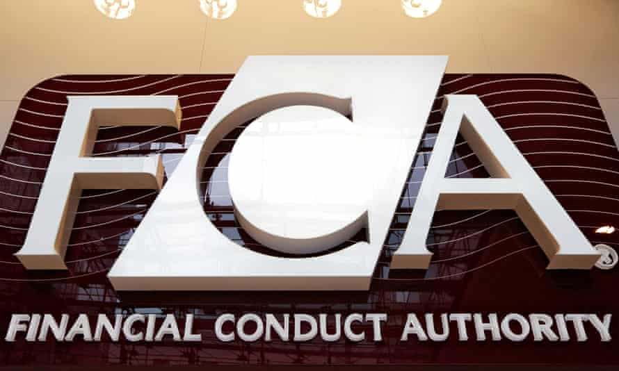 The logo of the new Financial Conduct Authority in the Canary Wharf business district of London