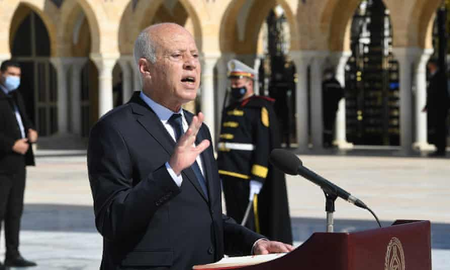 Kais Saied making a speech in Tunis in April