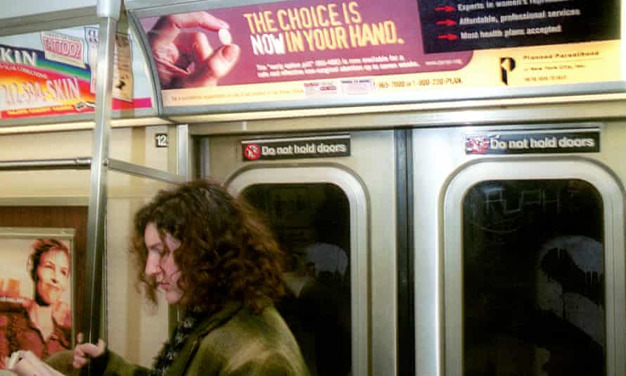 An advert for a birth control pill on a New York subway train.