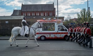 A man dressed as Saint George in the St George's Day parade in Manchester.