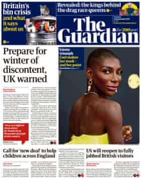 Guardian front page, Tuesday 21 September 2021