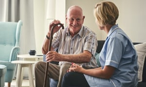 Retired man with female home carer.