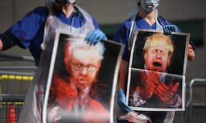 Nurses in scrubs protested in Westminster yesterday