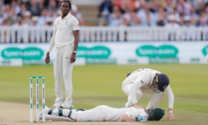 Steve Smith was injured by the bowling of Jofra Archer at Lord's during a compelling spell of pace bowling.