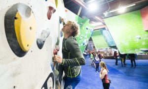 Visitors try scaling the walls at The Climbing Works, one of Sheffield's indoor climbing centres.