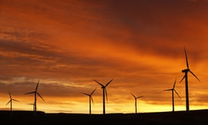 Dunlaw Wind Farm at dawn at Soutra Hill North in the Scottish Borders