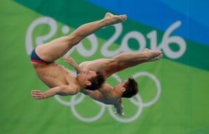 Tom Daley and Dan Goodfellow winning bronze in the 10m platform synchro diving.
