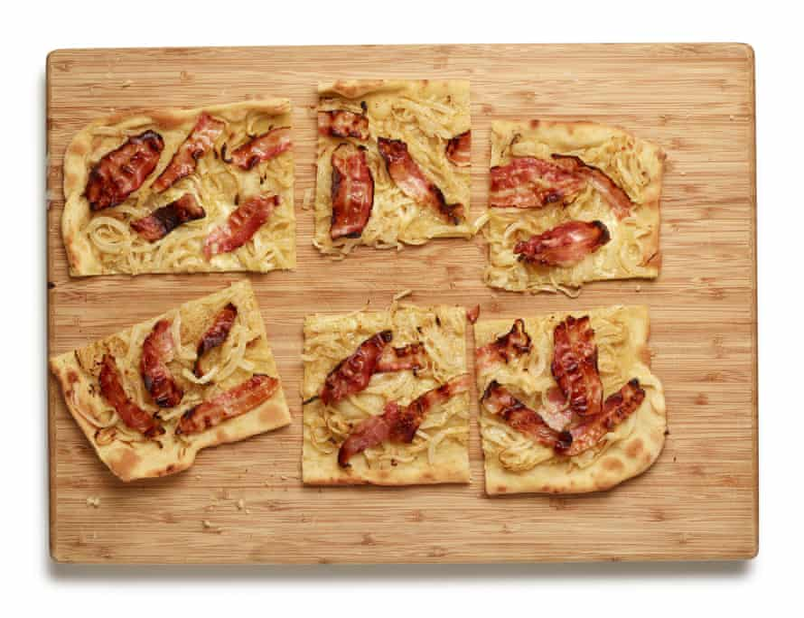 Felicity Cloake's perfect flammekueche: a bit like a pizza, but with pork and soured cream.