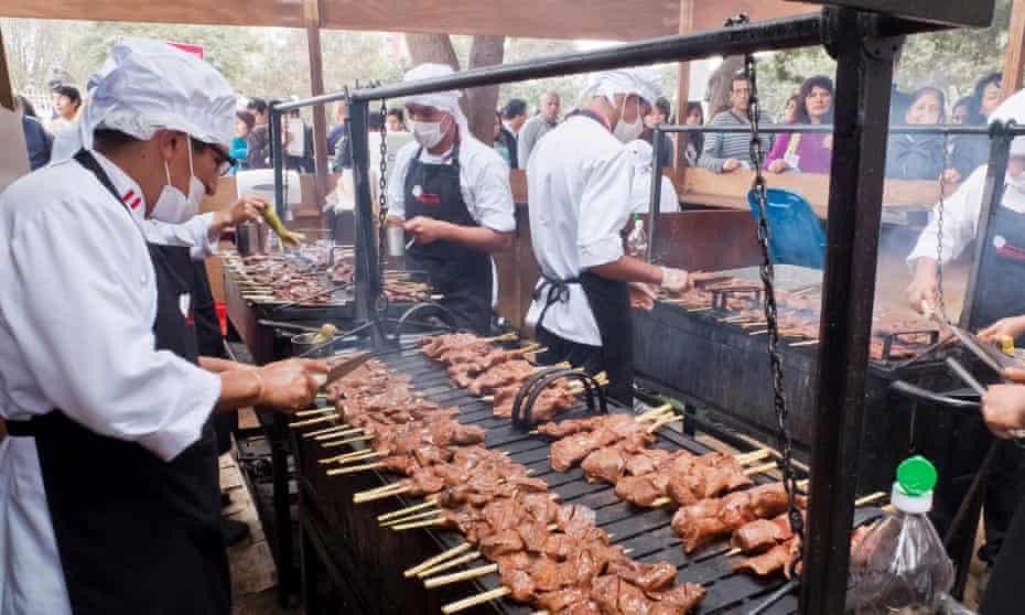 Grill life … anticuchos cooking at Mistura food fair in Lima, Peru.