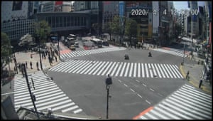 Shibuya crossing, Tokyo. Japan confirmed its first case on 16 January. By noon on 4 April the country had 3,139 cases of coronavirus and had recorded 77 deaths.