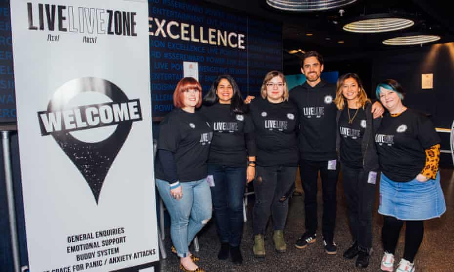 The team at Lewis Capaldi's Livelive initiative at the Glasgow SSE Hydro arena.