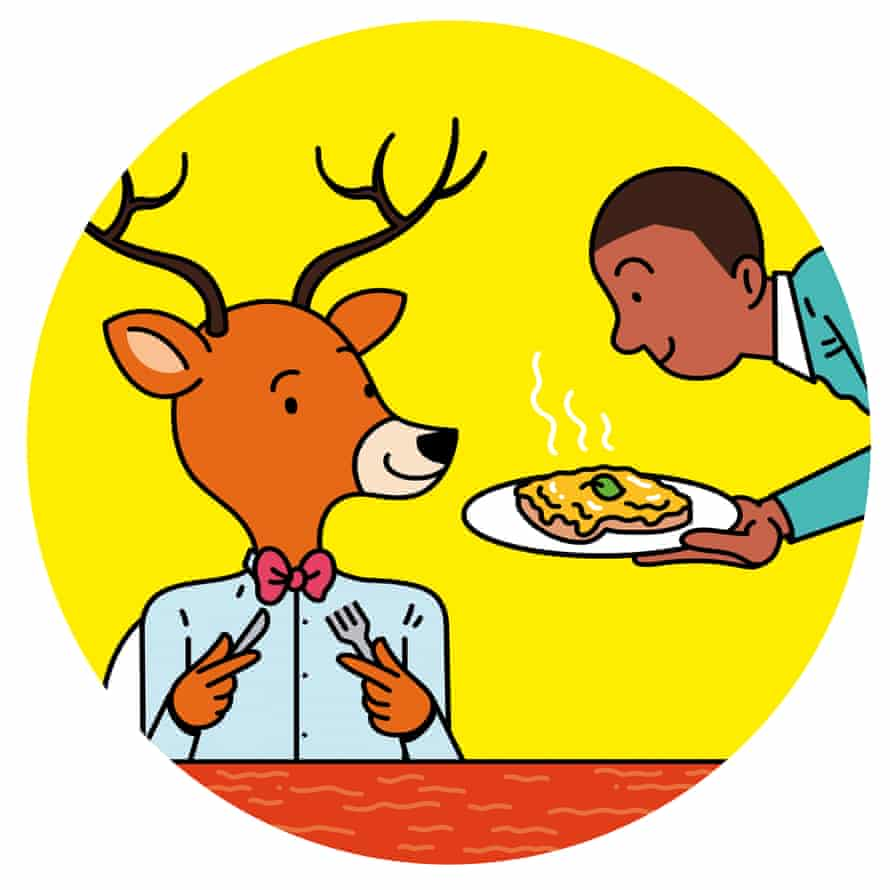 'Posh cheese on toast' for the surprise vegetarian dinner guest... and what could be more surprising than a large woodland animal turning up at the door? For here it is: not only was there a deer at the door, it has now sat down at your table and demanded a cheese supper.
