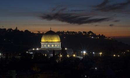 Sunrise over Al-Aqsa Mosque Compound in Jerusalem.