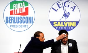 Forza Italia, led by Silvio Berlusconi, left, was overtaken by League, led by Matteo Salvini, in the 5 March election.