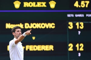 Novak Djokovic's final against Roger Federer took four hours and 57 minutes