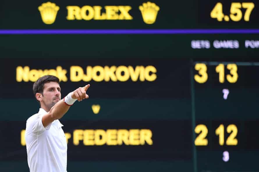 Novak Djokovic's final against Roger Federer took four hours and 57 minutes
