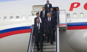 The Russian foreign minister, Sergei Lavrov, arrives at Pyongyang airport.