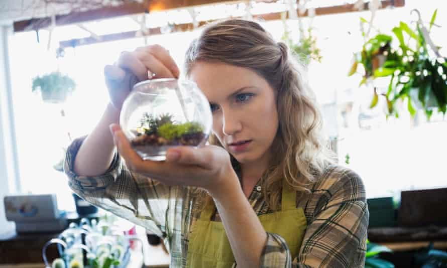 Woman with terrarium