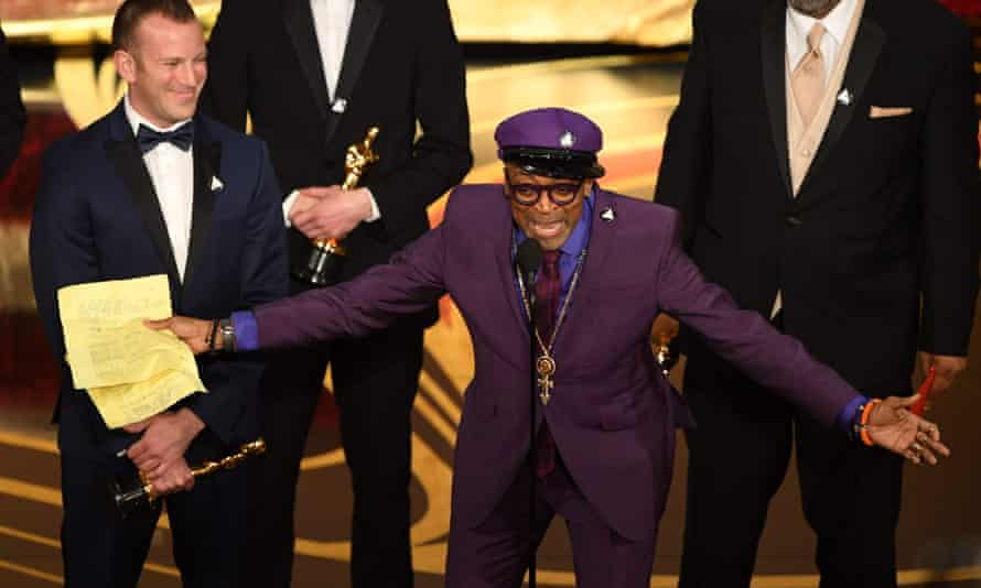 'Let's be on the right side of history' … Spike Lee gives his Oscar acceptance speech.