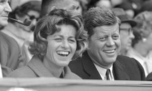 Jean Kennedy Smith with her brother, President John F Kennedy, at a baseball game at Griffith Stadium in Washington, 1961.