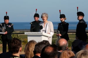 May gives a speech in Ver-sur-Mer