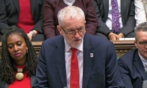 Jeremy Corbyn at prime minister's questions in the House of Commons.