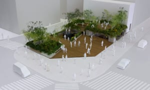 A model of the new Ginza Sony Park.